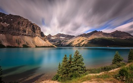 Banff National Park, mountains, clouds, Bow Lake, Alberta, Canada