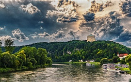 Bavaria, clouds, river, trees, houses