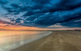 Praia, mar, nuvens, pôr do sol