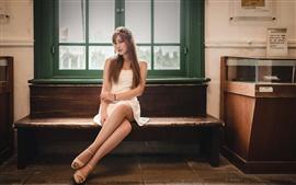 Beautiful Asian girl, bench, window