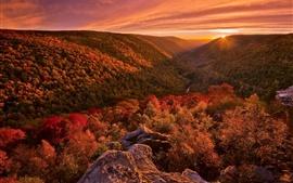 Preview wallpaper Beautiful autumn landscape, mountains, forest, sunset