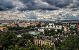 Cidade bonita, Praga, República Tcheca, rio, ponte, nuvens, crepúsculo