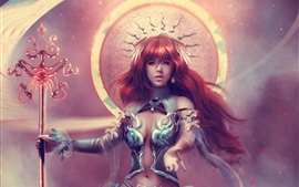 壁紙のプレビュー 美しいファンタジーガール、女神、赤毛
