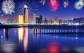 Beautiful fireworks, city, skyscrapers, Dubai, night, river, reflection