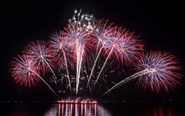 Hermosos fuegos artificiales, río, noche, vacaciones