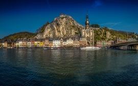 Bélgica, Namur, montanhas, rio, ponte, casas