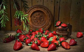 Berries, fresh strawberry, fruit, still life