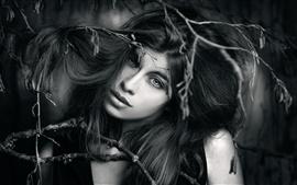Image en noir et blanc, fille, visage