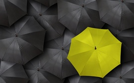 Preview wallpaper Black umbrella, one yellow