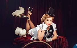 Blonde girl, magic, pigeons