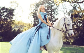 Blue dress girl riding white horse