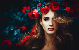 Preview wallpaper Blue eyes girl, rose flowers, head decoration
