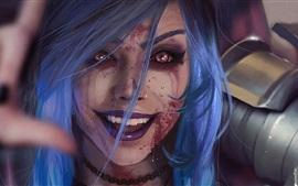Aperçu fond d'écran Blue hair fantasy girl, blood