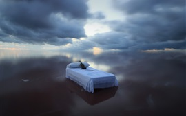 Preview wallpaper Blue sea, bed, violin, sky, clouds, creative