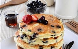 Preview wallpaper Blueberries pancakes, food