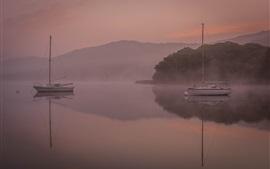 Preview wallpaper Boats, lake, mountains, dawn, fog