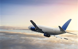 Preview wallpaper Boeing passenger plane flight, sky, clouds