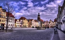 Brandenburgo, Cottbus, Alemania, casas, calle, nubes, anochecer