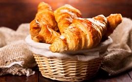 壁紙のプレビュー パン、クロワッサン、バスケット、朝食