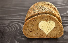 Bread, love heart