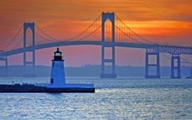Мост, маяк, море, Ньюпорт, Род-Айленд, США