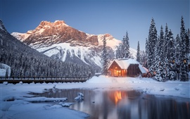 Preview wallpaper British Columbia, house, mountains, trees, winter, snow, Canada
