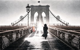 Preview wallpaper Brooklyn, Freeze, bridge, girl, winter