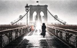 Brooklyn, congelar, puente, chica, invierno