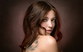 Preview wallpaper Brown hair girl, look back, artistic portrait