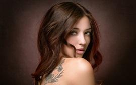 Brown hair girl, look back, artistic portrait