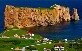 Preview wallpaper Canada, Perce Rock, houses, sea