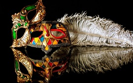 Preview wallpaper Carnival mask, reflection, black background