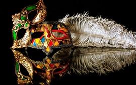 Aperçu fond d'écran Masque de carnaval, reflet, fond noir