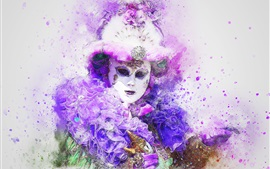 Preview wallpaper Carnival, mask, watercolor painting