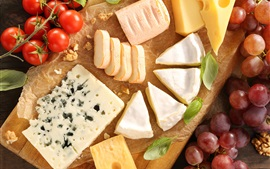 Preview wallpaper Cheese, bread, grapes, tomatoes, food