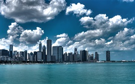 Preview wallpaper Chicago, USA, skyscrapers, clouds, sea, city