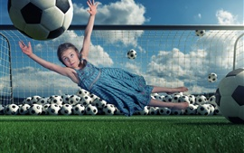 Preview wallpaper Child girl, defensive, football, jumping