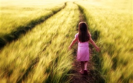 Preview wallpaper Child girl walk in the field path