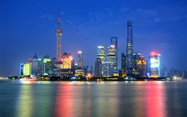 Preview wallpaper China, Shanghai, Oriental Pearl Tower, city night, lights, skyscrapers, river