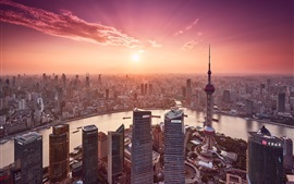 China, Shanghai, city, river, skyscrapers, sunset