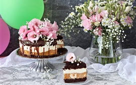 Pastel de chocolate, flores