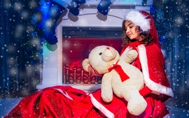 Chica vestido de navidad, oso, chimenea, calcetines, nieve