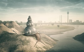 Preview wallpaper City, big snail, river, bridge, creative design