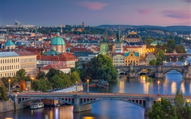 City, dusk, lights, bridge, river, Vltava, Prague, Czech Republic