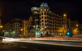 Preview wallpaper City night, buildings, road, lights, traffic, Prague, Czech Republic