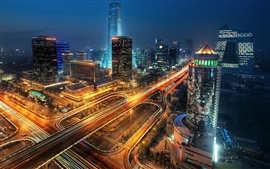 Preview wallpaper City night, buildings, roads, skyscrapers, lights, Beijing, China