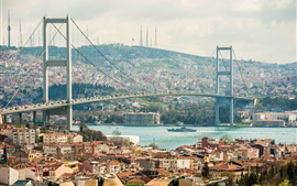 Preview wallpaper City, river, bridge, houses, buildings, Istanbul, Turkey