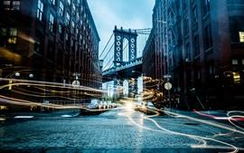 Cidade, rua, carros, edifícios, ponte, linhas de luz