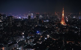 Preview wallpaper Cityscape, night, lights, tower, Tokyo, Japan
