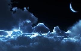 Nubes, luna, noche, cielo